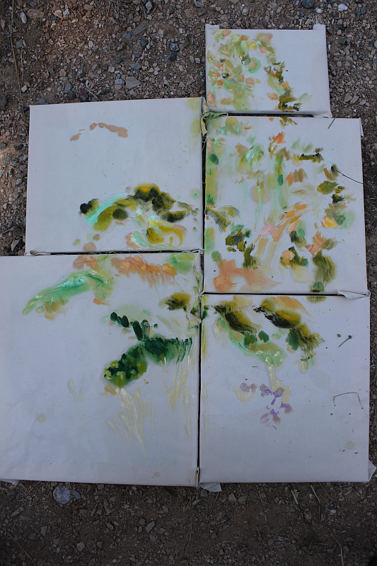 2015-09-02 Between Pietrapaola Marina and Paese: landscape - olive trees, oil on fabric (Kirsten Kötter)