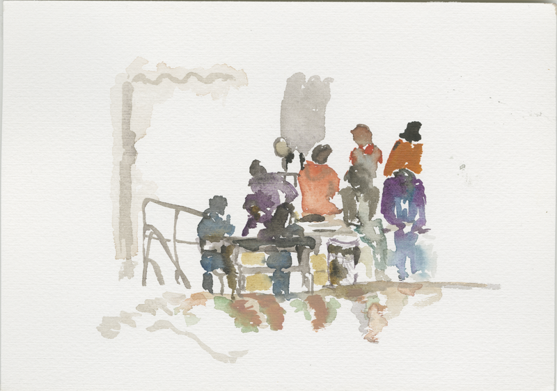 2016-04-21_52-52725_13-34790_lageso_skizze2, refugees in front of the tents, sketch, 17 x 24 cm (Kirsten Kötter)