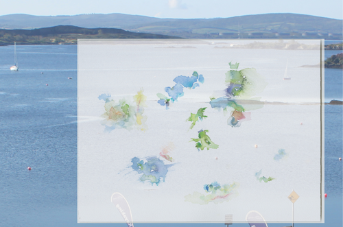 2019-06-11_17_irl-glengarriff-hotel, clouds over the sea, window-view, Eccles hotel, Glengarriff, Galway (Ireland), water colour, 24 x 32 cm, photo, digital montage (Kirsten Kötter)